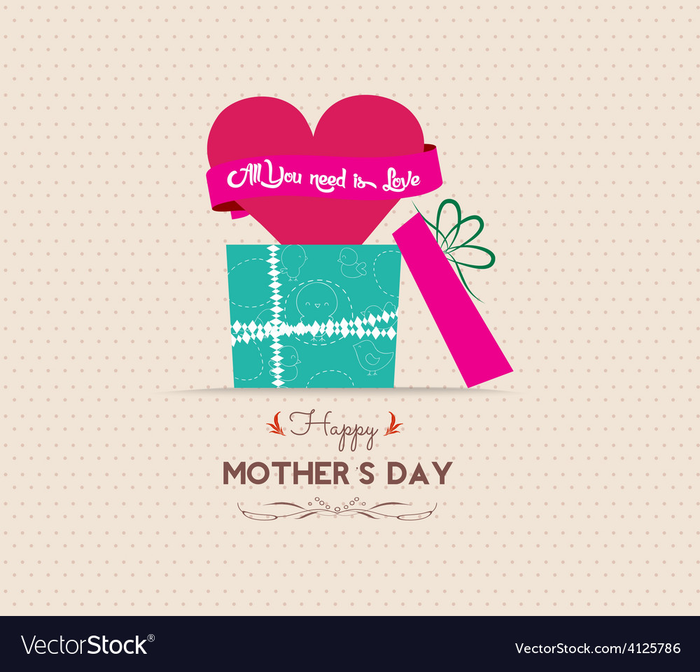 Mothers day greeting card with gift vector   Price: 1 Credit (USD $1)