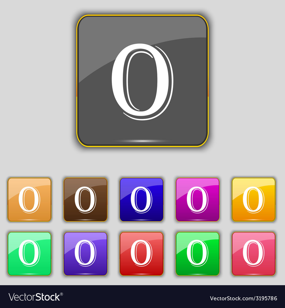 Number zero icon sign set of coloured buttons vector | Price: 1 Credit (USD $1)