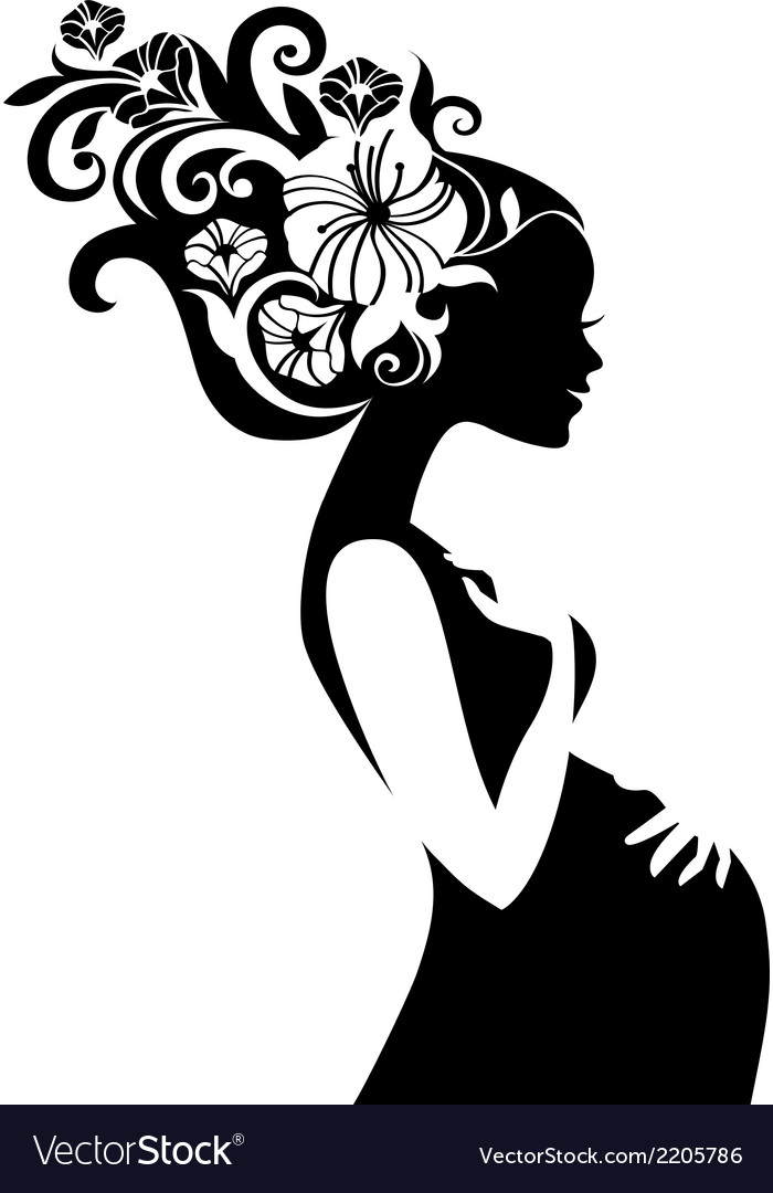 Pregnant beautiful woman silhouette with floral vector | Price: 1 Credit (USD $1)