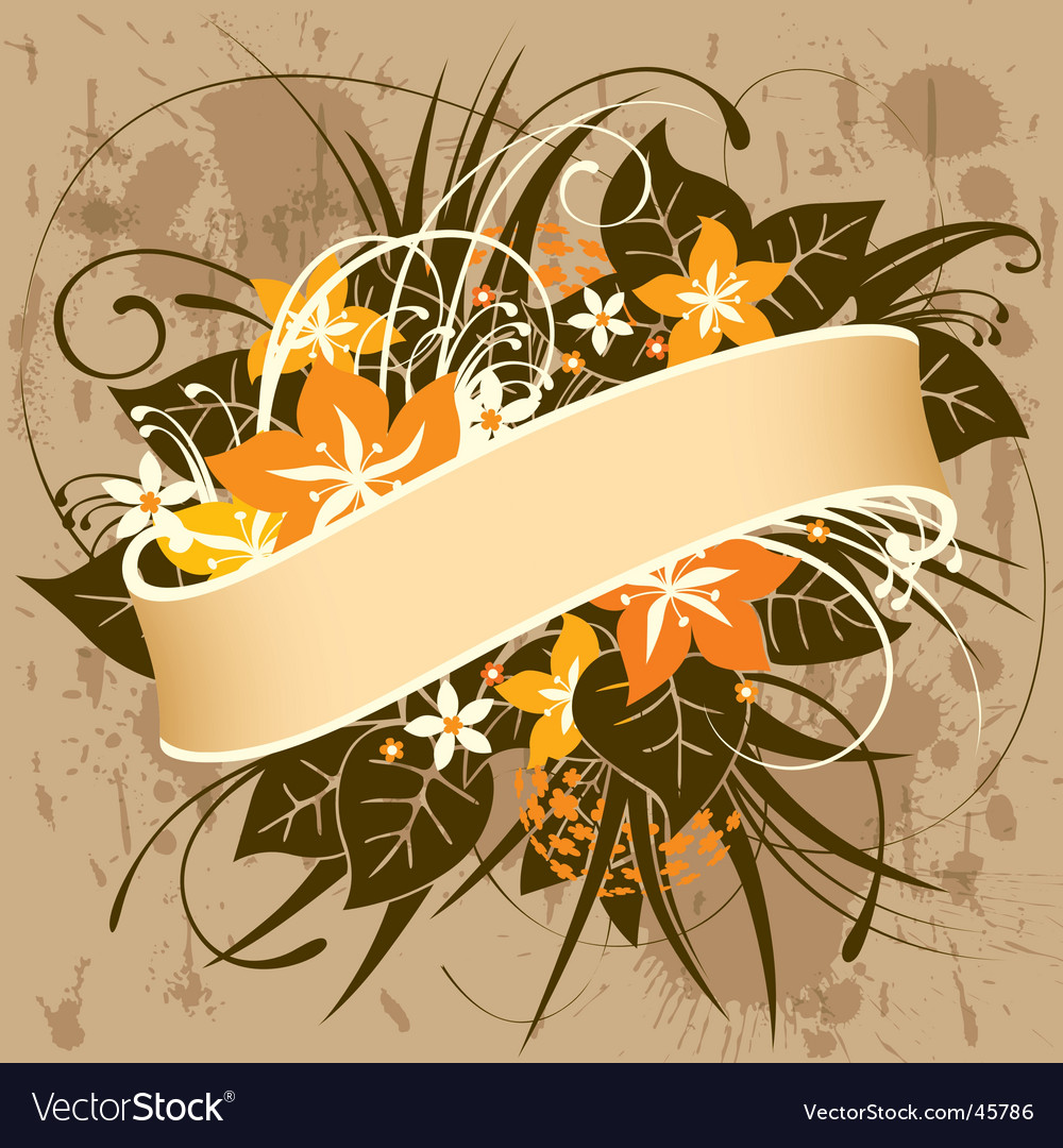 Retro floral banner vector | Price: 1 Credit (USD $1)
