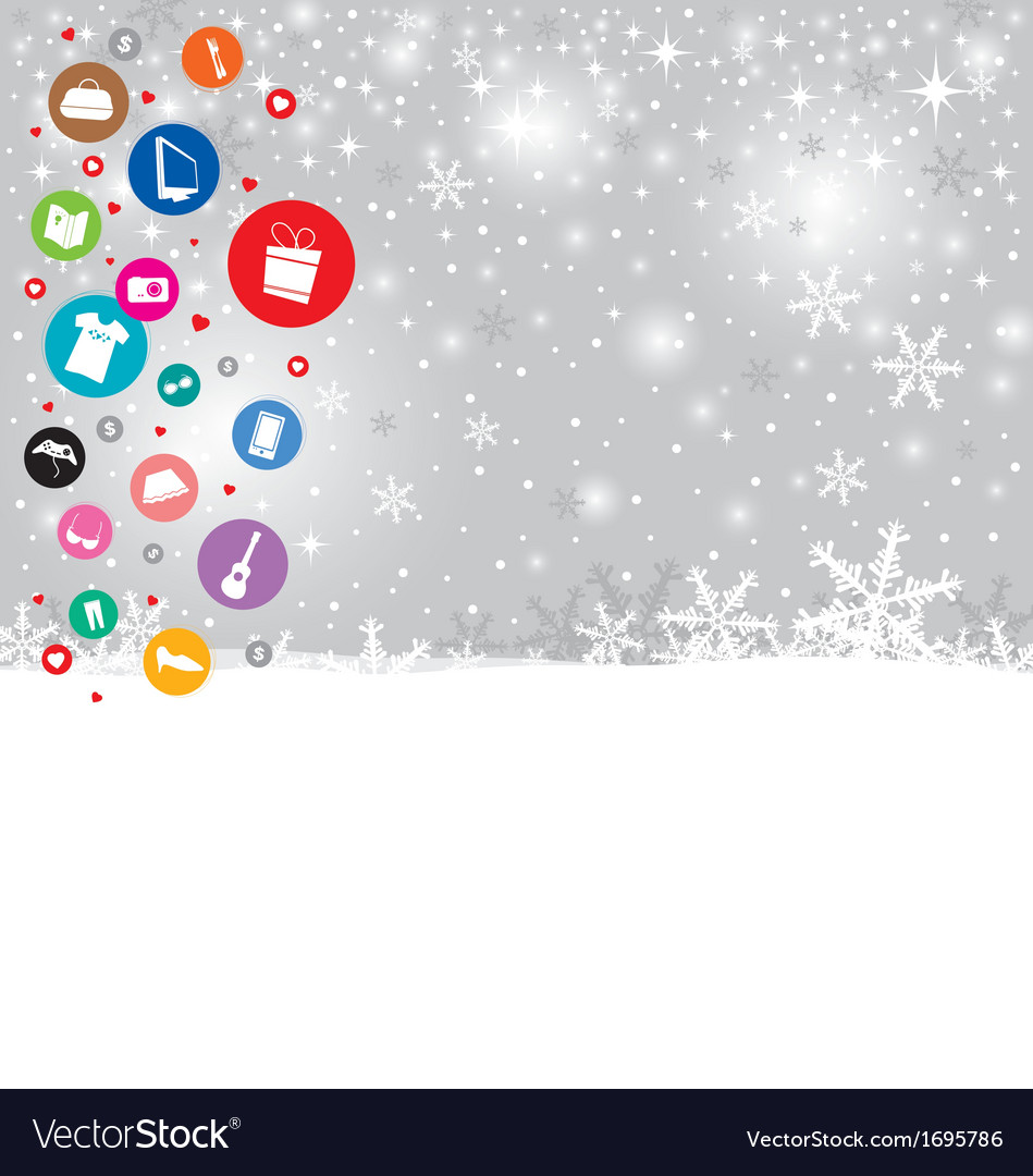 Shopping icon design on christmas background vector | Price: 1 Credit (USD $1)