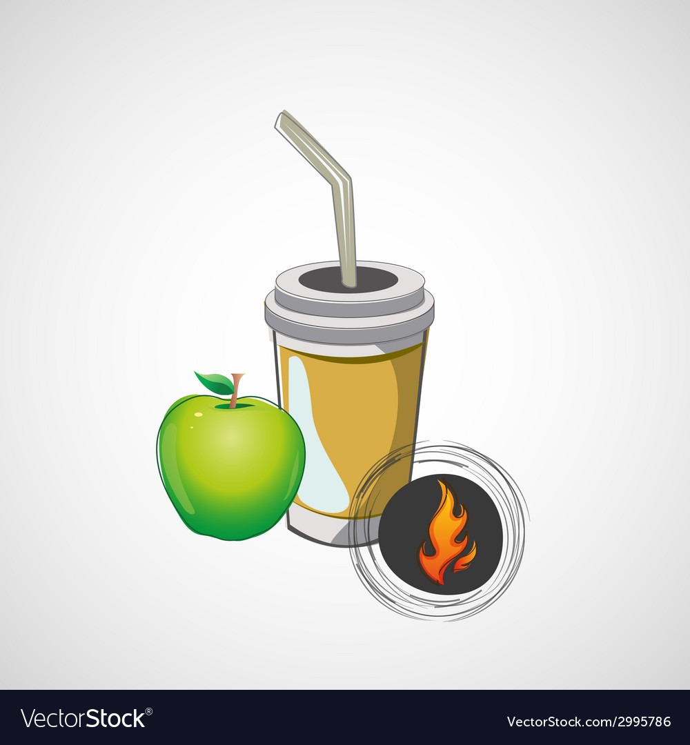 Sketch paper cup with straw and apple vector | Price: 1 Credit (USD $1)