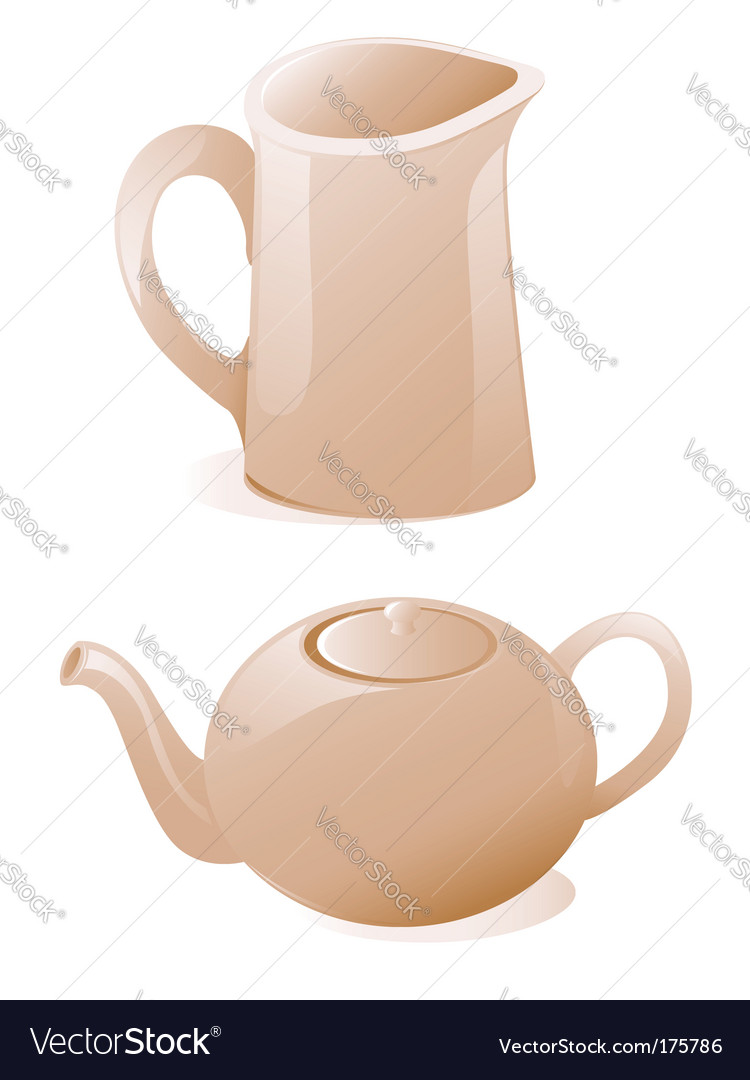 Teapot and milk jug vector | Price: 1 Credit (USD $1)