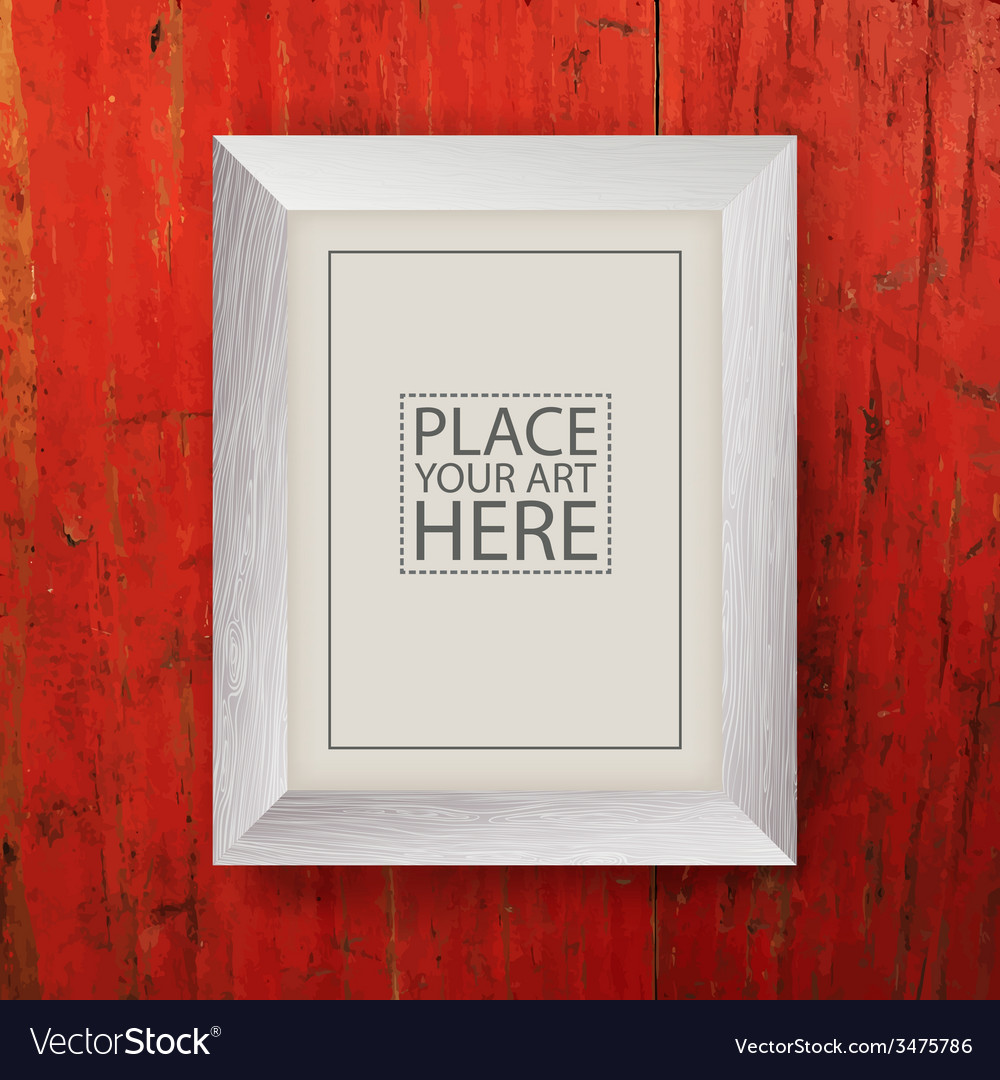White wooden frame on red wooden wall vector | Price: 1 Credit (USD $1)