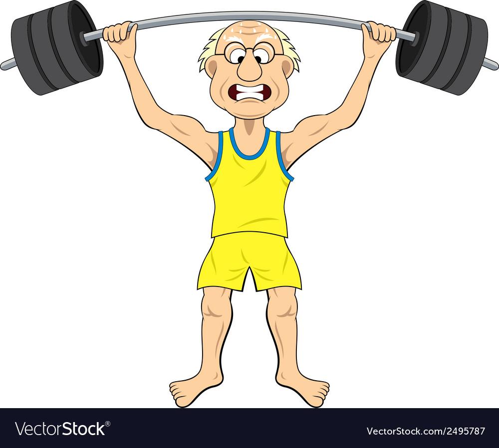 Cartoon old man lifting weights vector | Price: 1 Credit (USD $1)