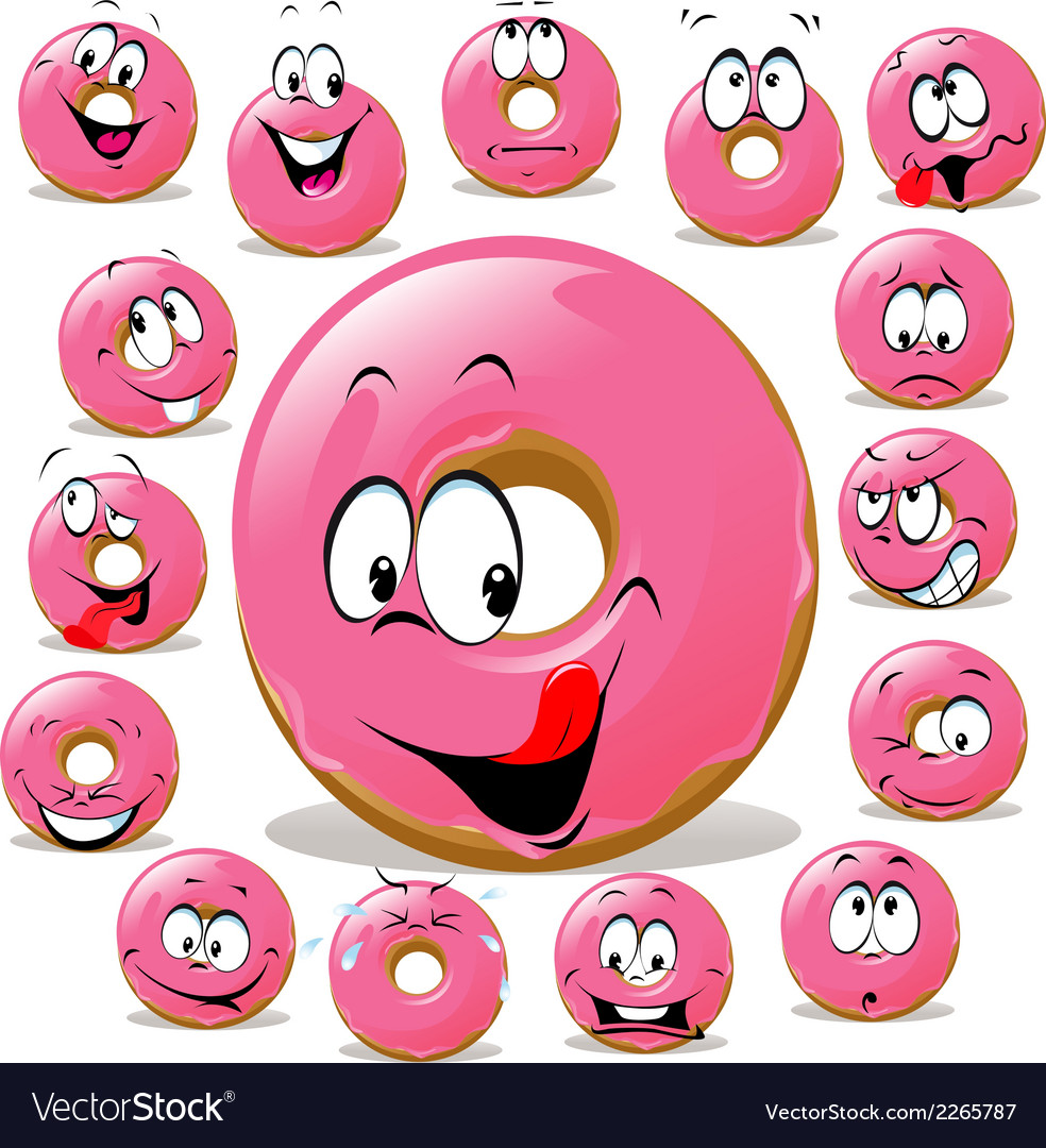 Donut cartoon with many facial expression isolated vector | Price: 1 Credit (USD $1)