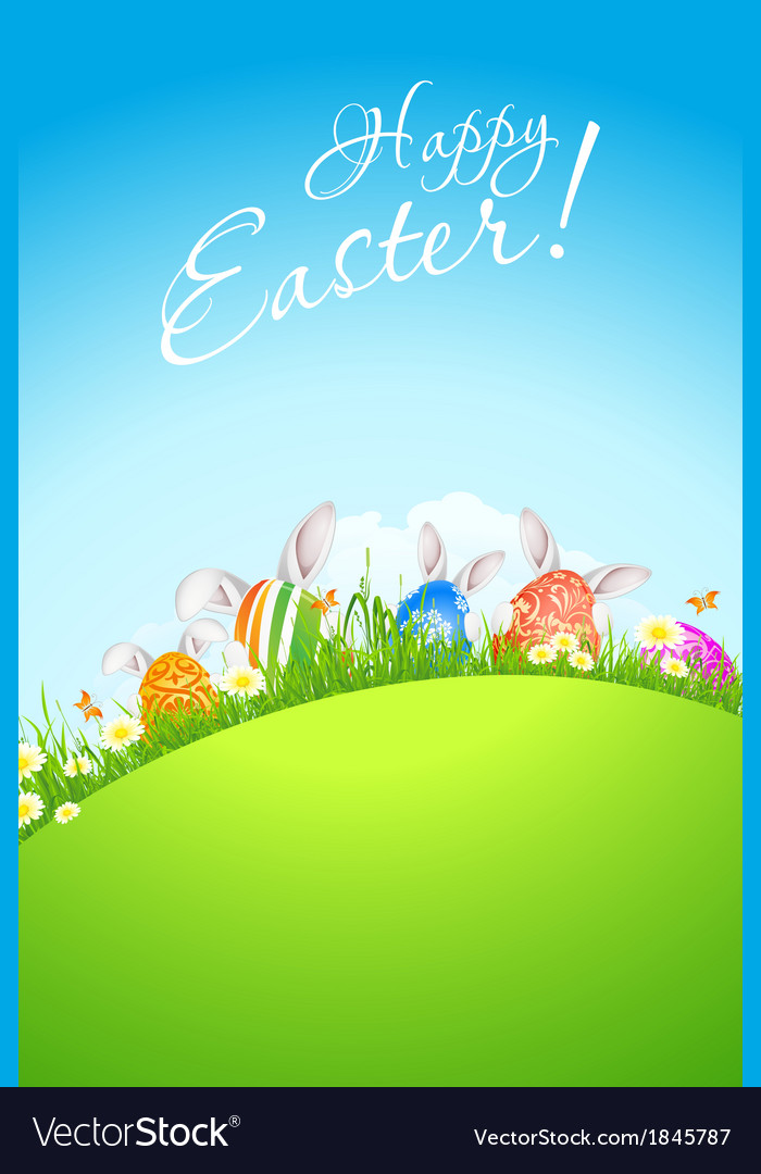 Green landscape background with easter eggs vector | Price: 1 Credit (USD $1)