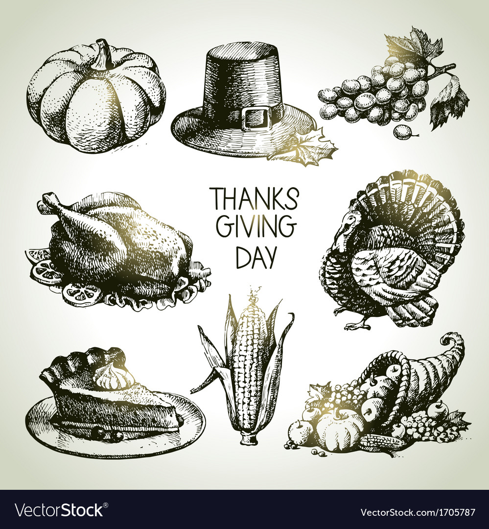 Hand drawn vintage thanksgiving day set vector | Price: 1 Credit (USD $1)