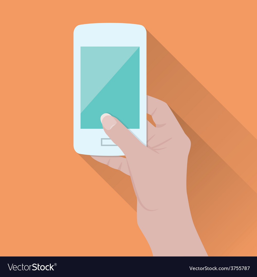 Hand holding smart phone vector | Price: 1 Credit (USD $1)
