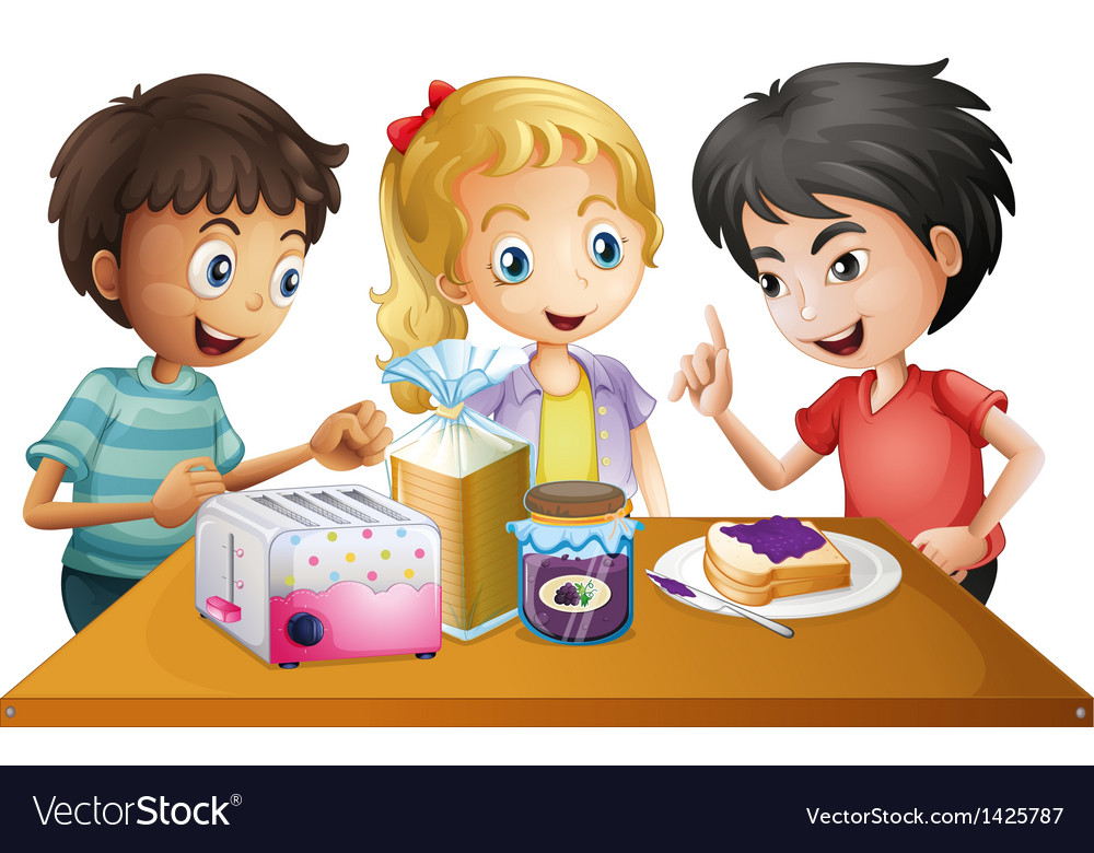Kids preparing their snacks vector | Price: 1 Credit (USD $1)