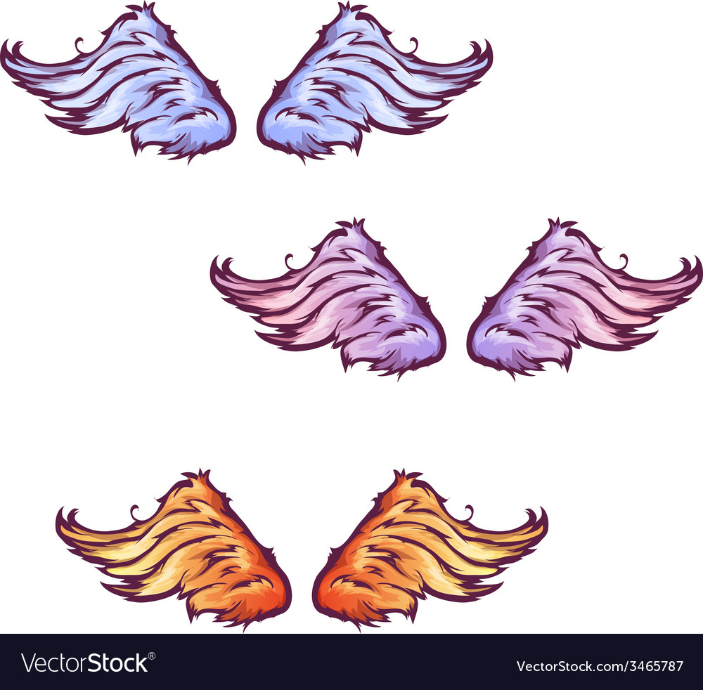 Set of cartoon beautiful wings vector | Price: 1 Credit (USD $1)