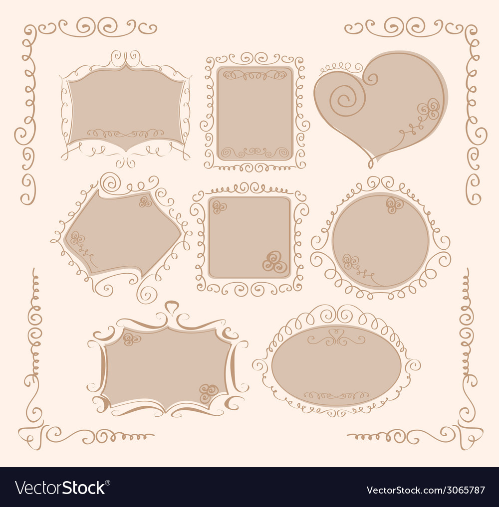 Set of vintage frames with flowers vector | Price: 1 Credit (USD $1)