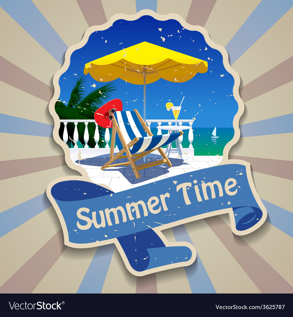 Summer time label vector | Price: 1 Credit (USD $1)