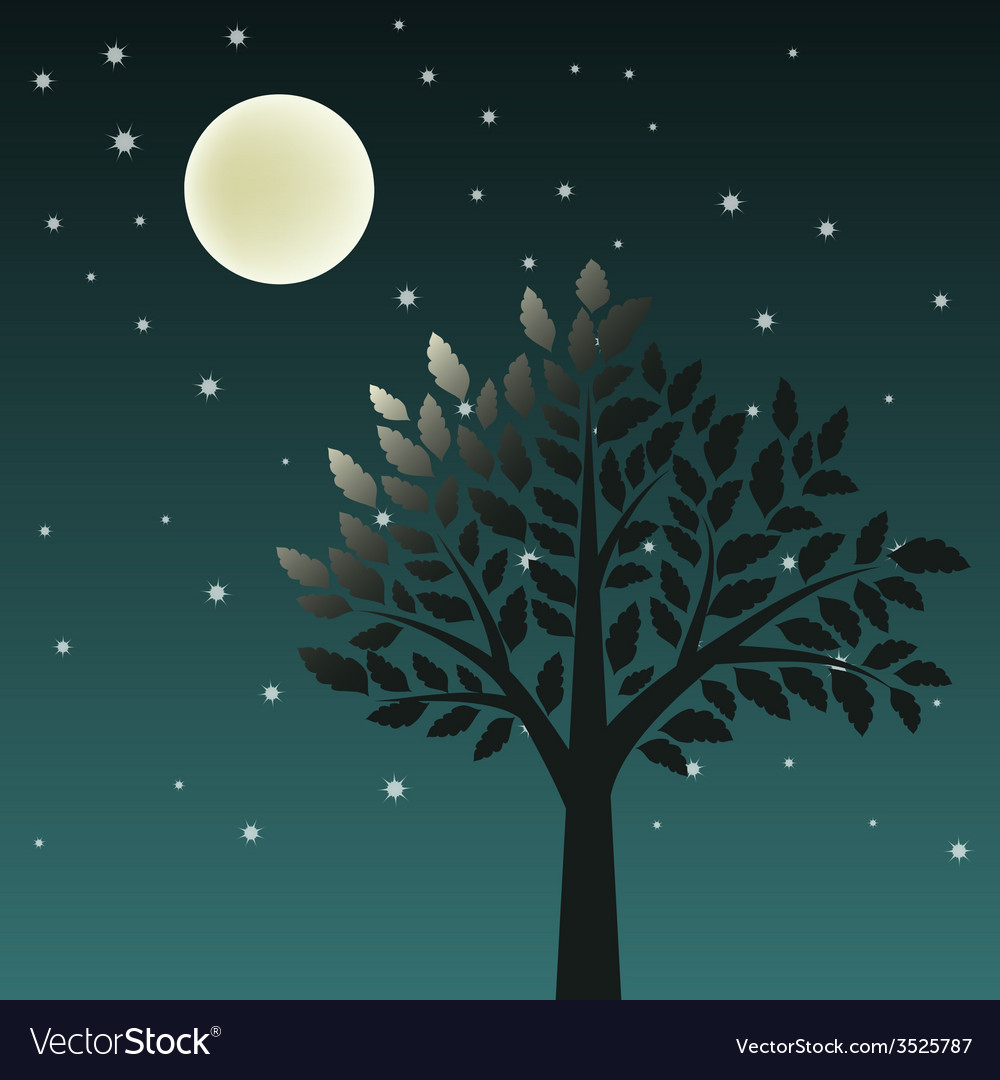 Tree and moon vector | Price: 1 Credit (USD $1)