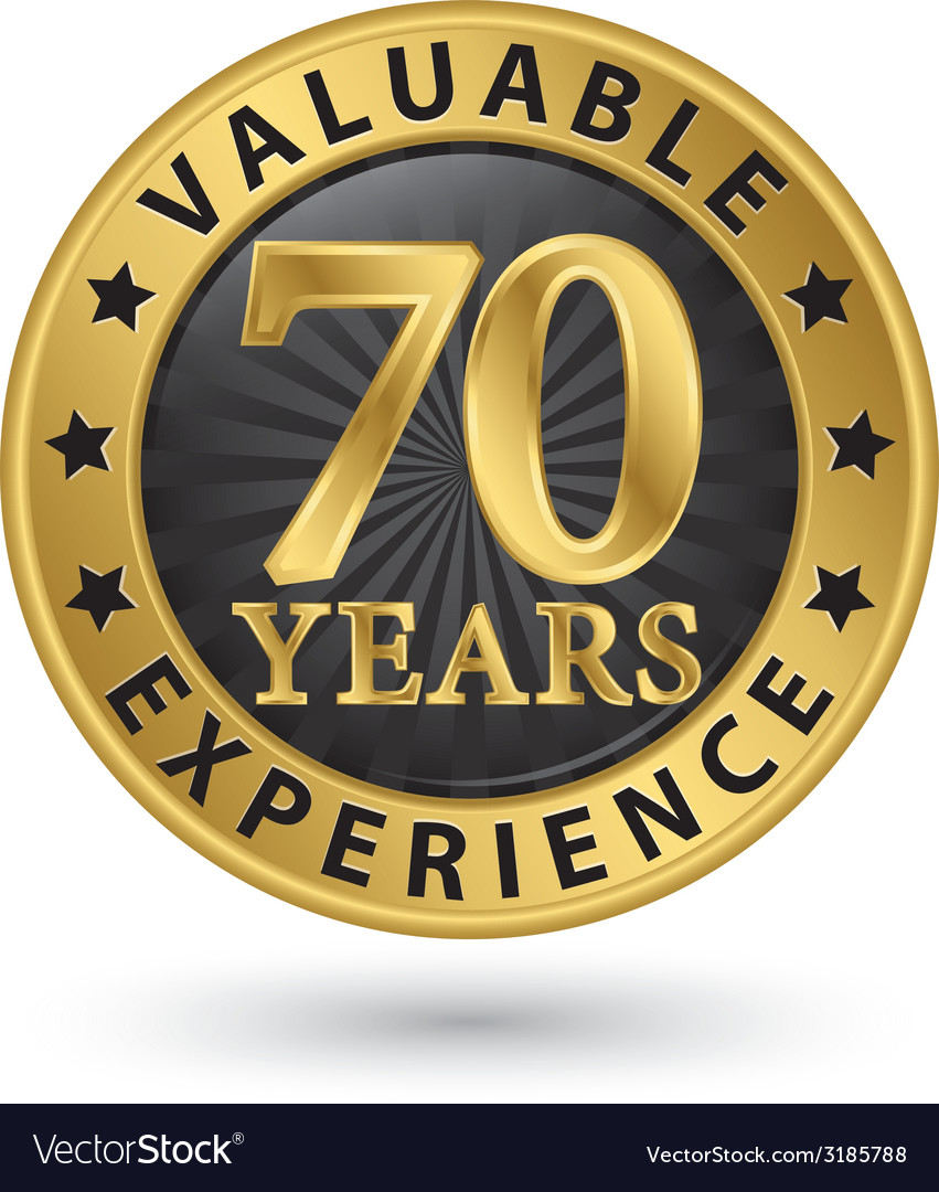 70 years valuable experience gold label vector | Price: 1 Credit (USD $1)