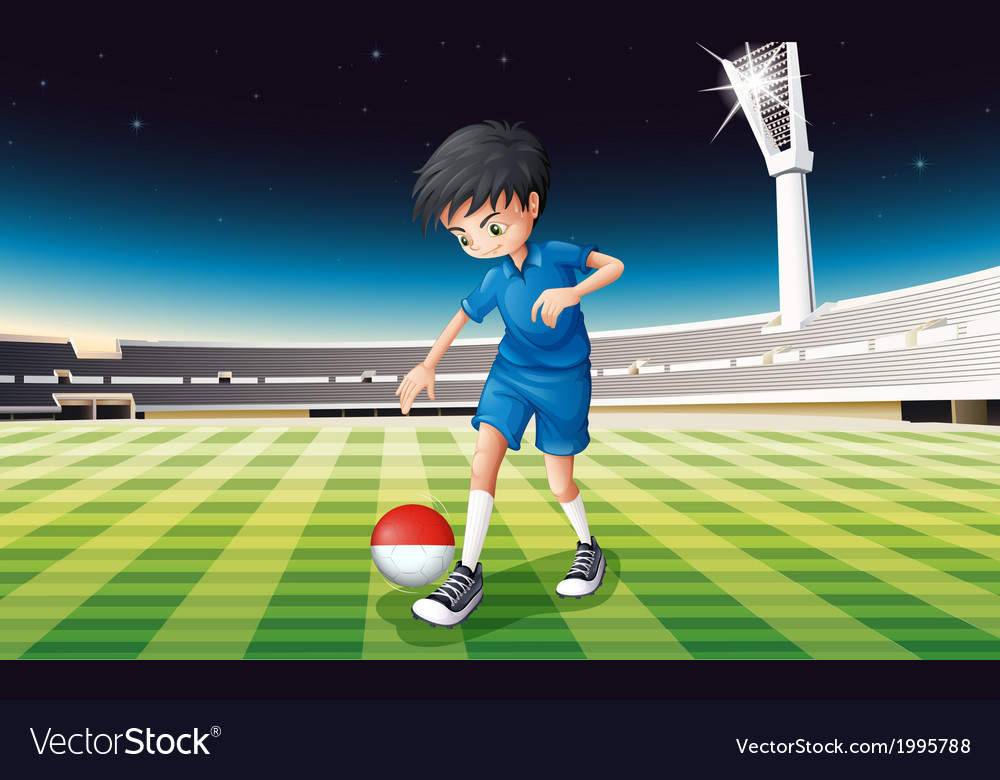 A football player at the field using the ball with vector | Price: 3 Credit (USD $3)