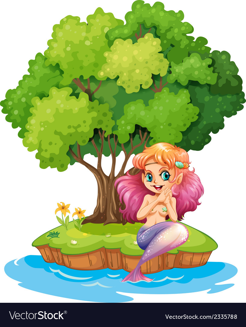 A mermaid in the island vector | Price: 3 Credit (USD $3)