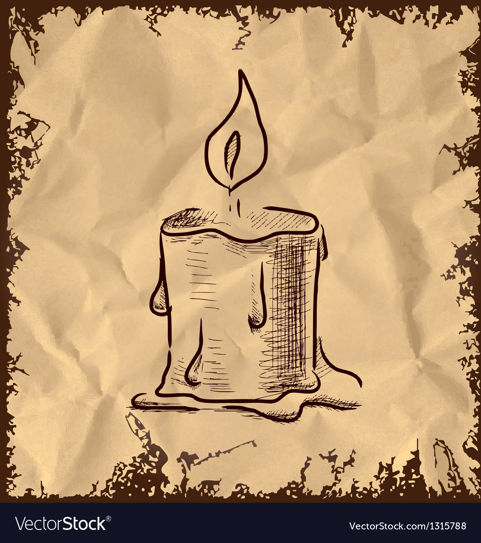 Candle icon on vintage background vector | Price: 1 Credit (USD $1)