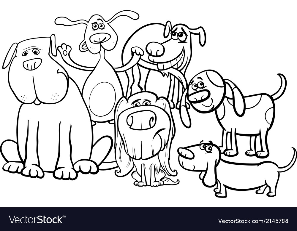 Cartoon dogs group coloring page vector | Price: 1 Credit (USD $1)