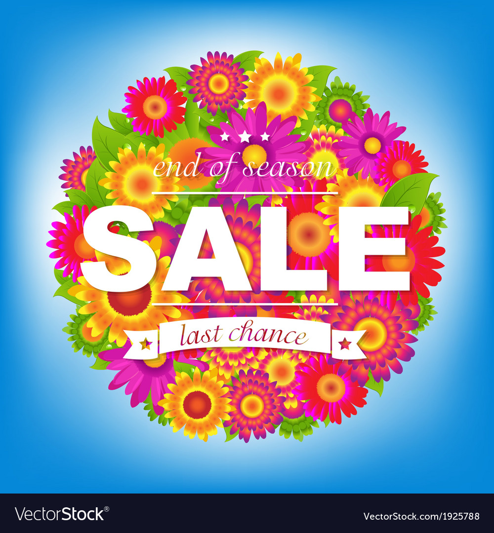 Color sale poster with flowers vector | Price: 1 Credit (USD $1)