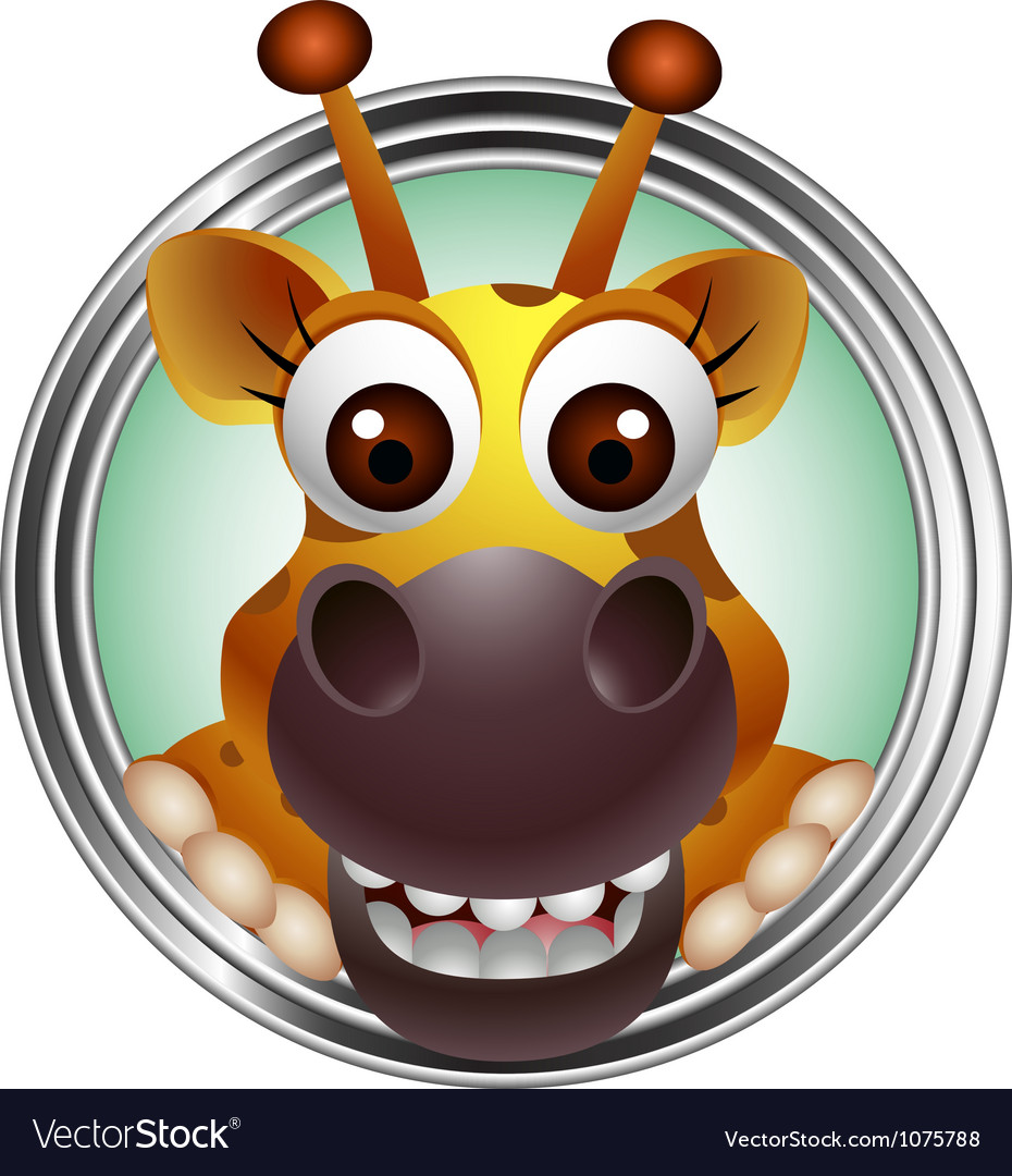 Cute giraffe head cartoon vector | Price: 3 Credit (USD $3)