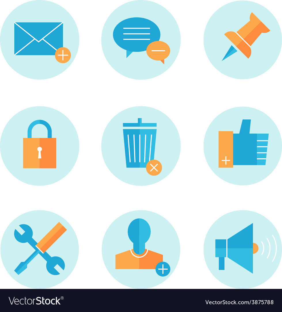 Flat line icons set of website search engine vector | Price: 1 Credit (USD $1)