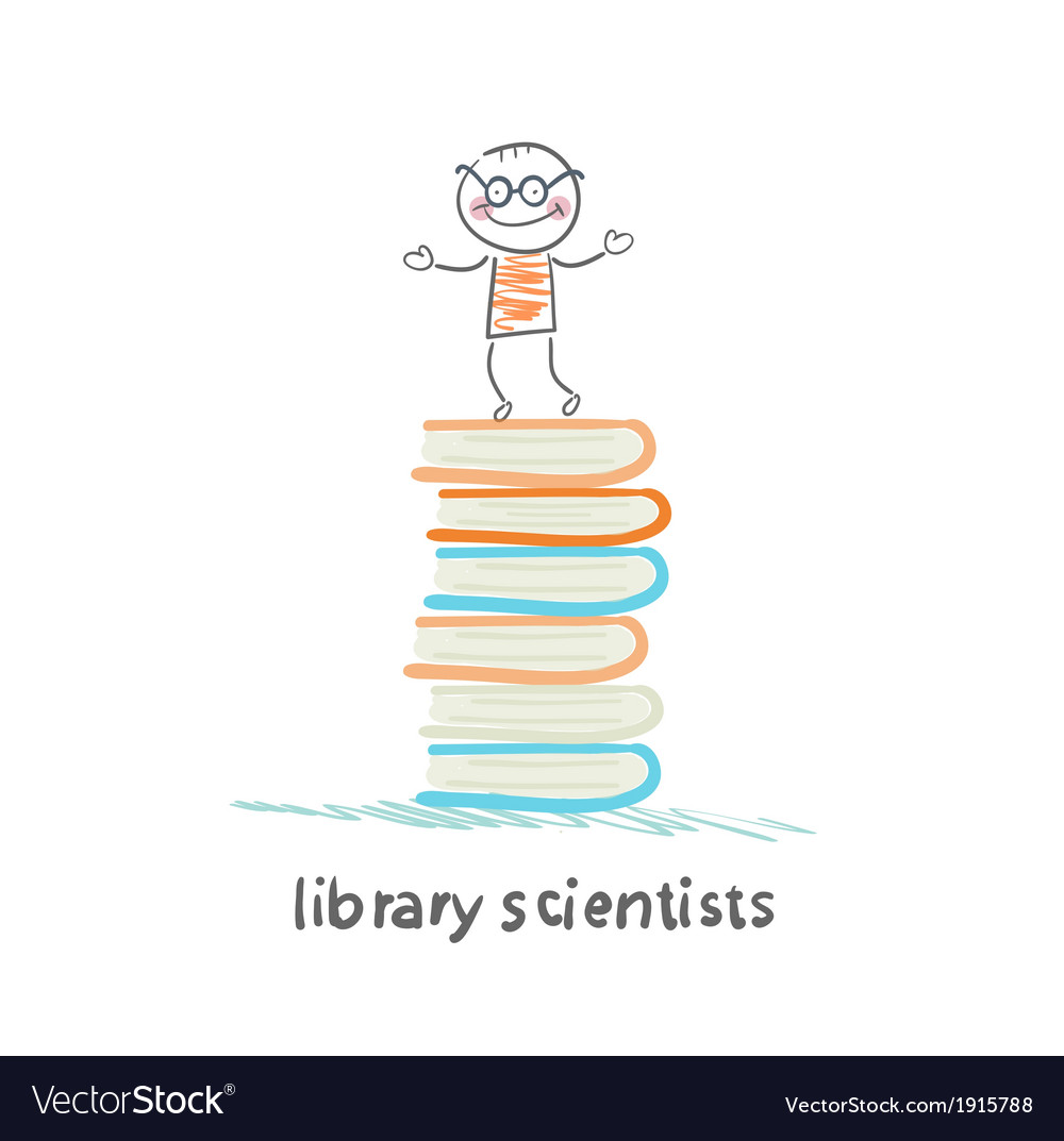 Library of scientists is on the books vector | Price: 1 Credit (USD $1)