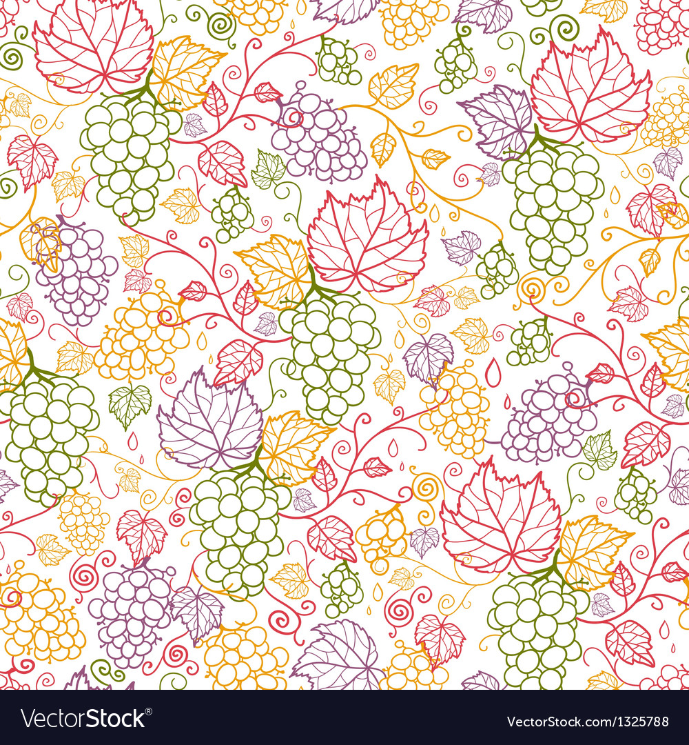 Line art grape vines seamless pattern background vector | Price: 1 Credit (USD $1)