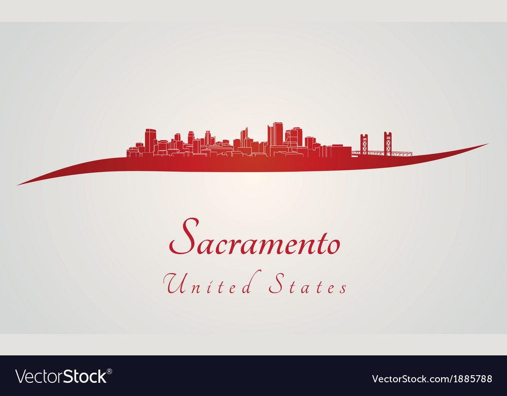 Sacramento skyline in red vector | Price: 1 Credit (USD $1)
