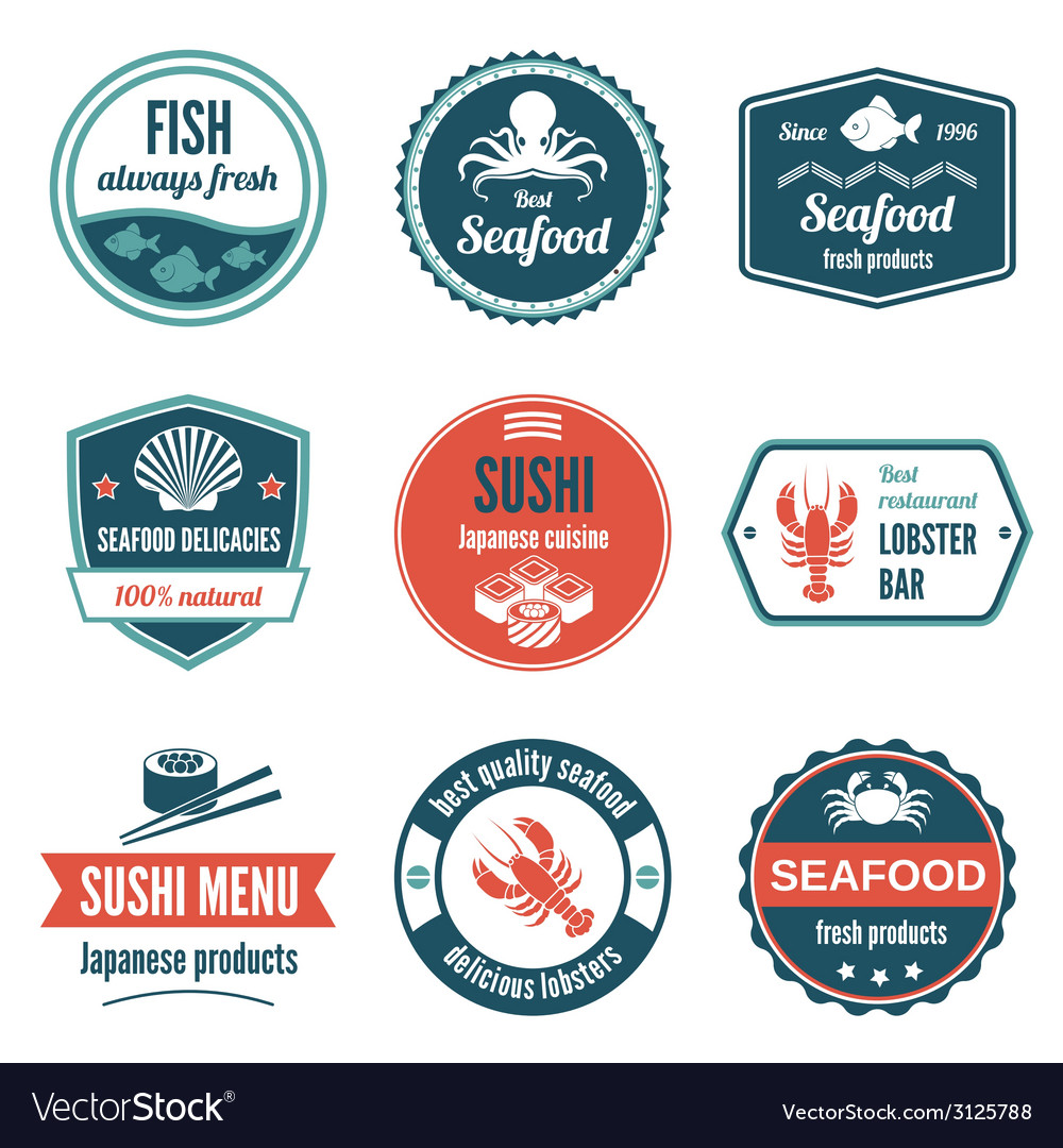 Seafood label set vector | Price: 1 Credit (USD $1)