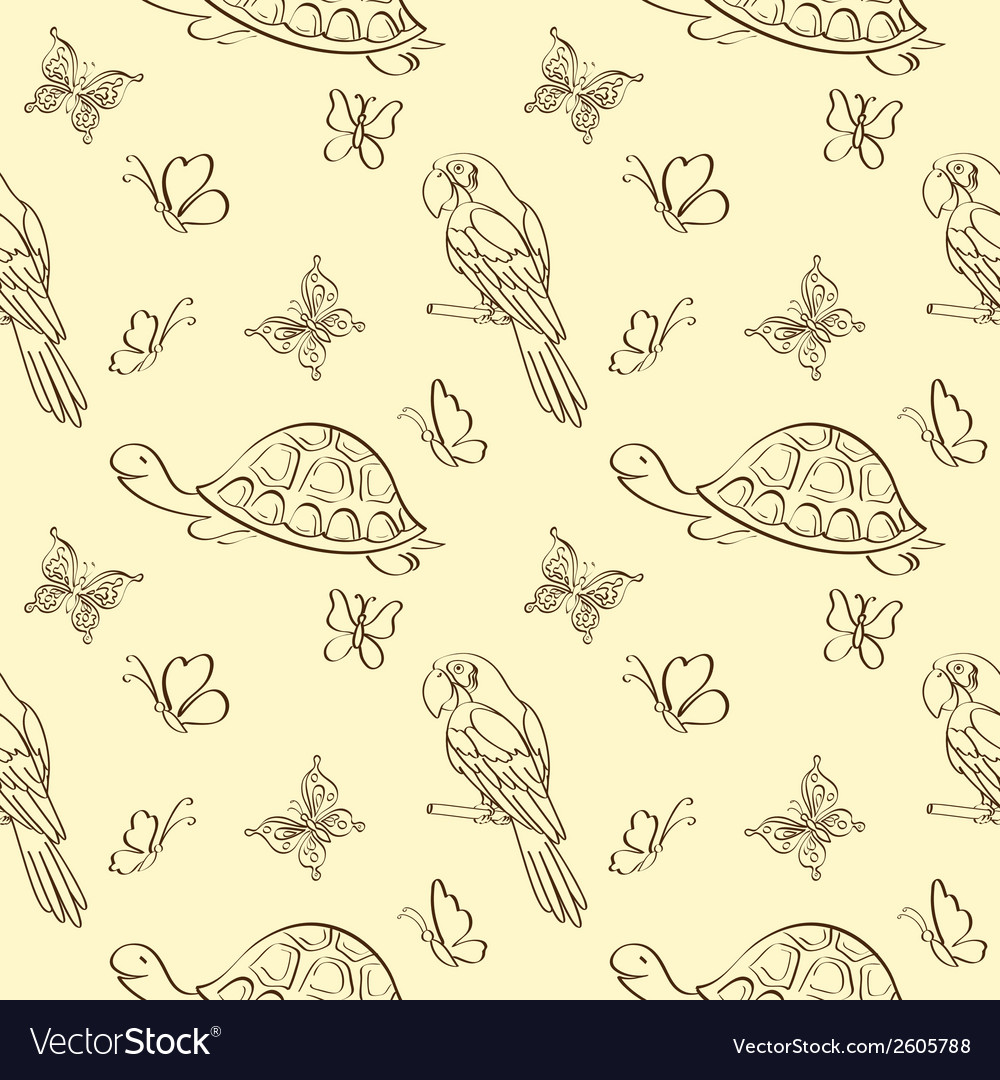 Seamless pattern animals contours vector | Price: 1 Credit (USD $1)