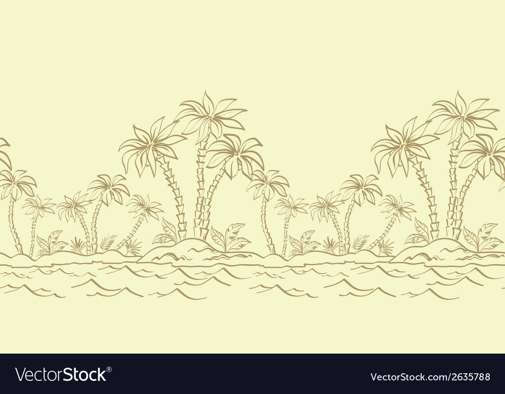 Seamless pattern island with palm contours vector   Price: 1 Credit (USD $1)