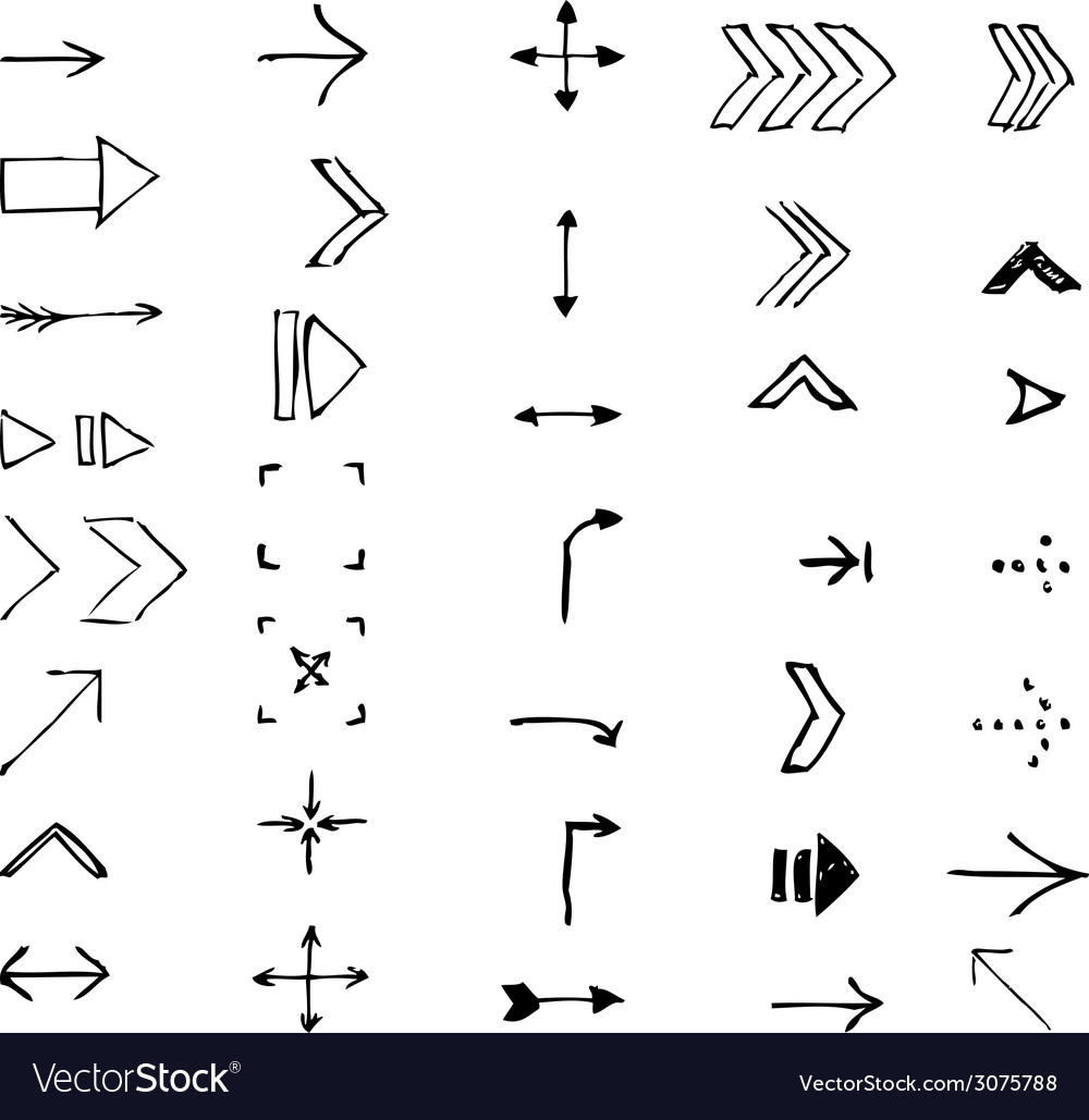 Set of hand-drawn arrows vector