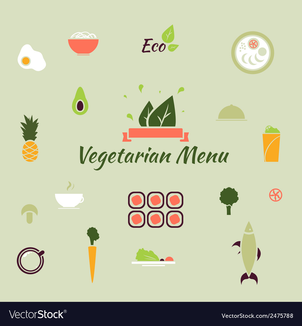 Vegetarian menu icons in the flat color style vector | Price: 1 Credit (USD $1)