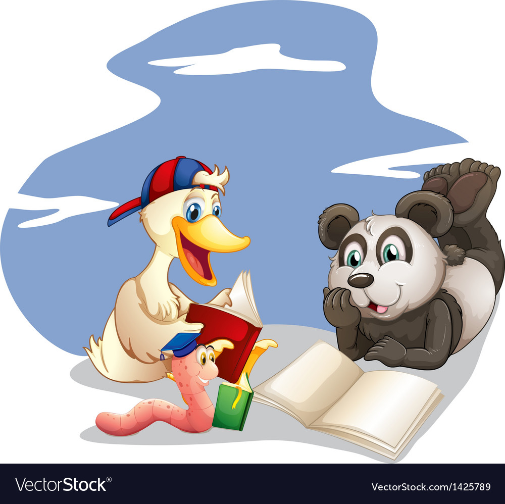 Animals reading books vector | Price: 1 Credit (USD $1)