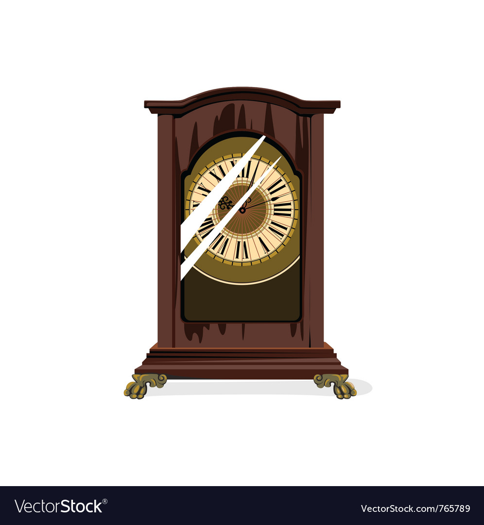 Brown retro clocks and glass vector | Price: 1 Credit (USD $1)