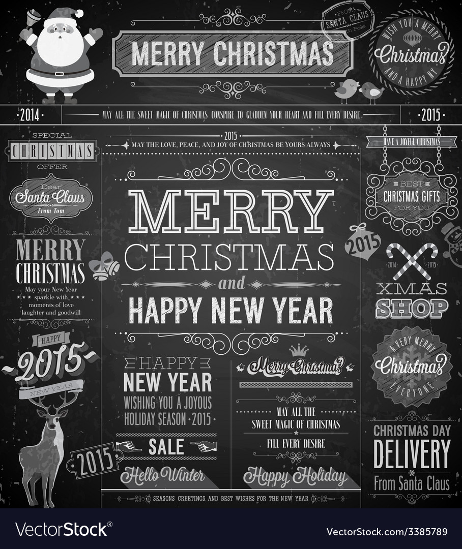 Chalk xmas labels vector | Price: 3 Credit (USD $3)