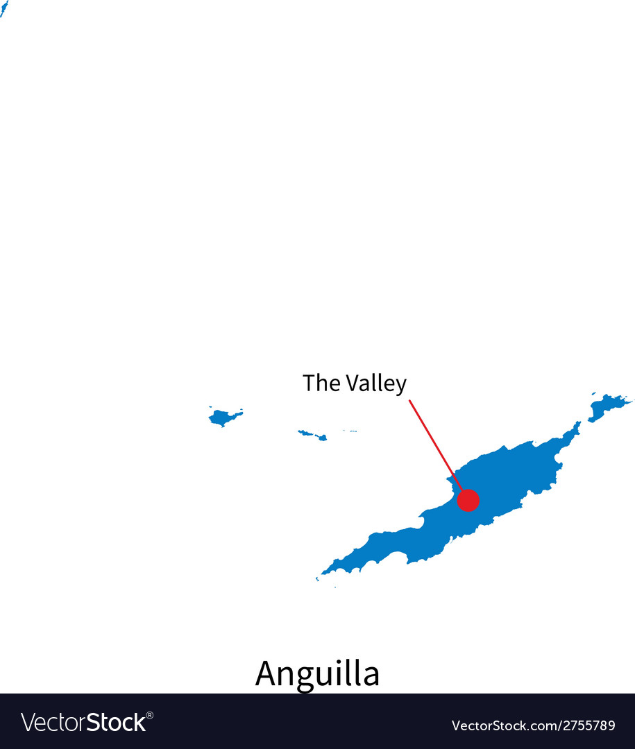 Detailed map of anguilla and capital city the vector | Price: 1 Credit (USD $1)
