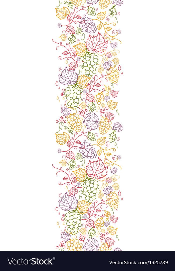 Line art grape vines vertical seamless pattern vector | Price: 1 Credit (USD $1)