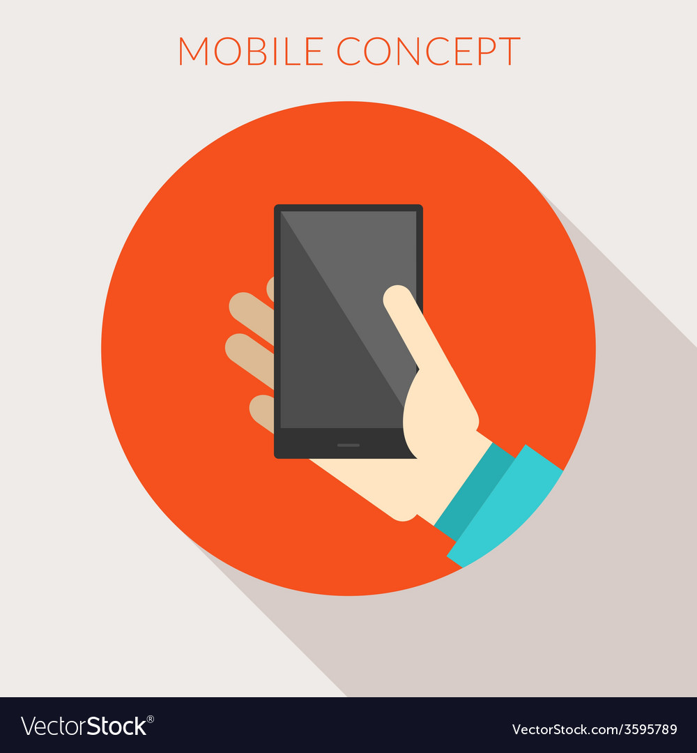 Mobile concept hand of the person with mobile vector | Price: 1 Credit (USD $1)