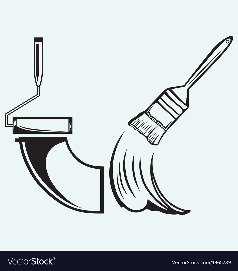 Paint brush and paint roller vector | Price: 1 Credit (USD $1)