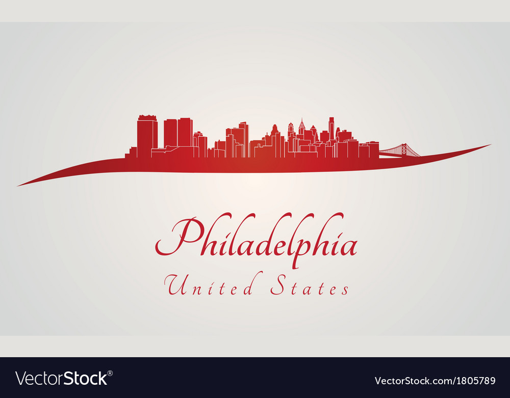 Philadelphia skyline in red vector | Price: 1 Credit (USD $1)