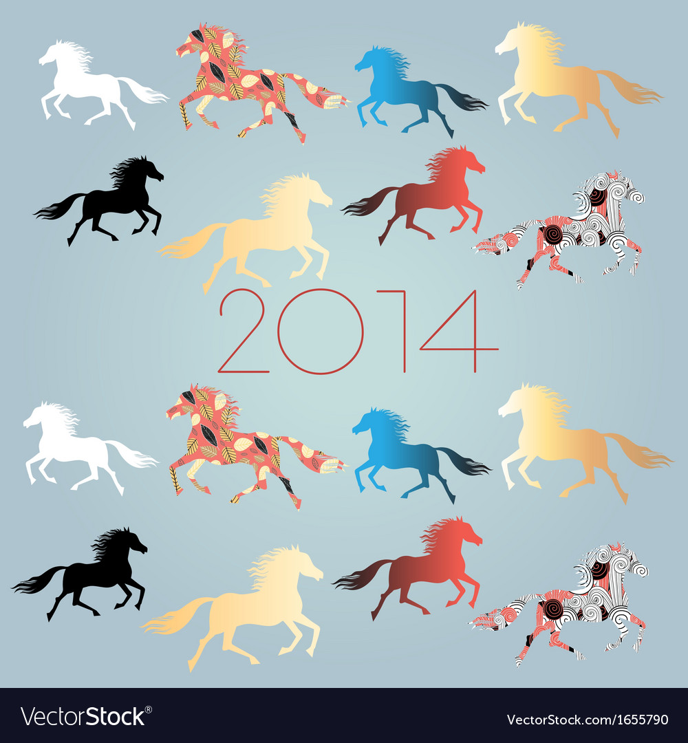 Bright festive new years background with horses vector | Price: 1 Credit (USD $1)