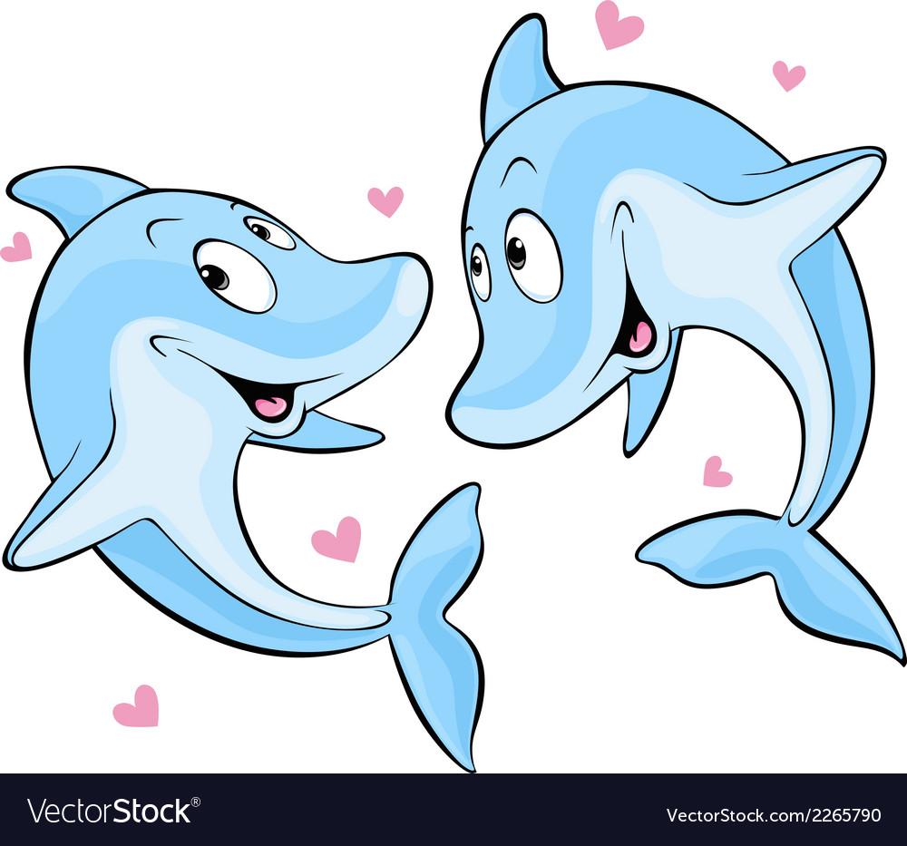 Dolphin in love vector | Price: 1 Credit (USD $1)