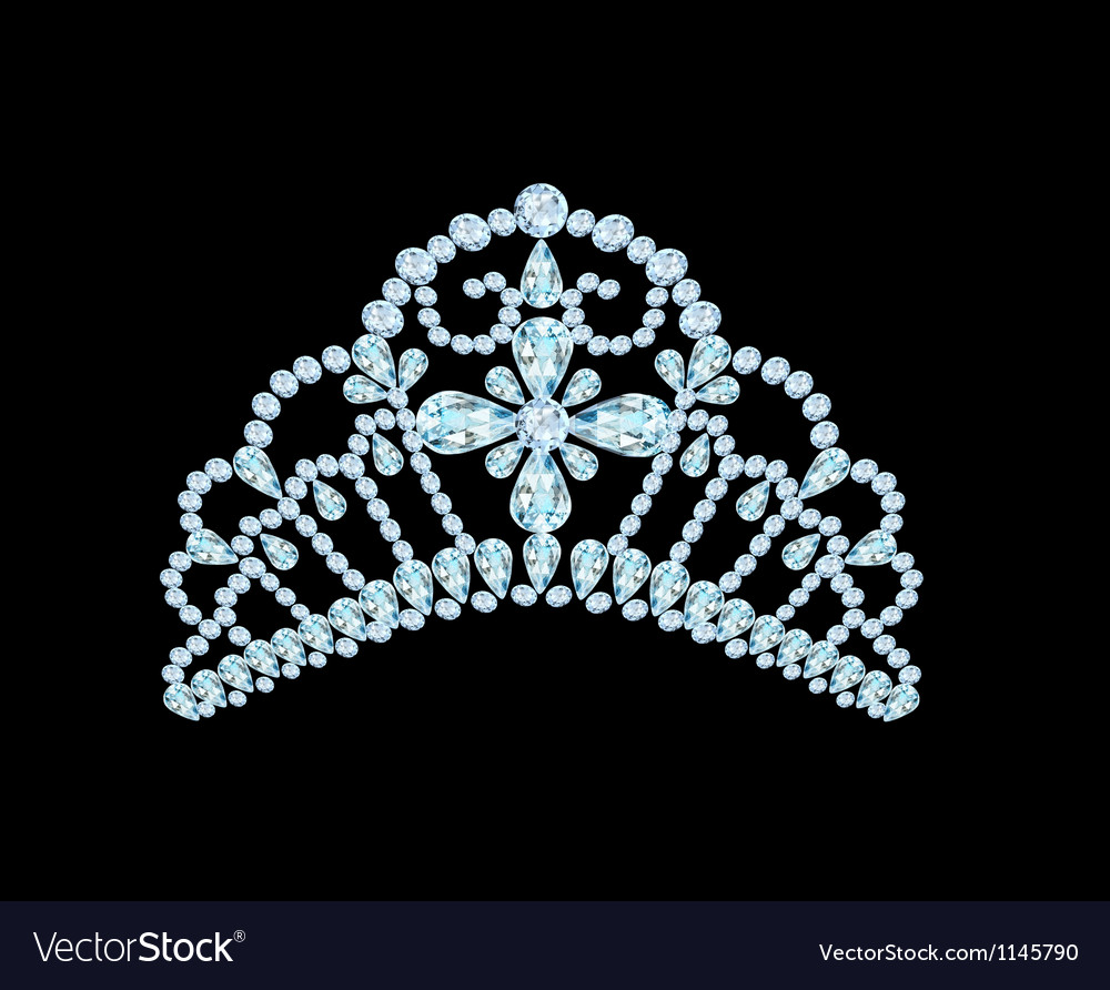 Feminine wedding diadem crown on black vector | Price: 1 Credit (USD $1)
