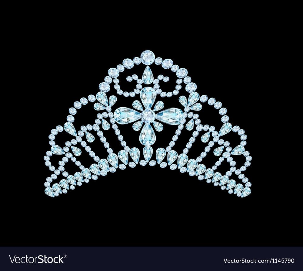 Feminine wedding diadem crown on black vector | Price: 1 Credit (USD $1)