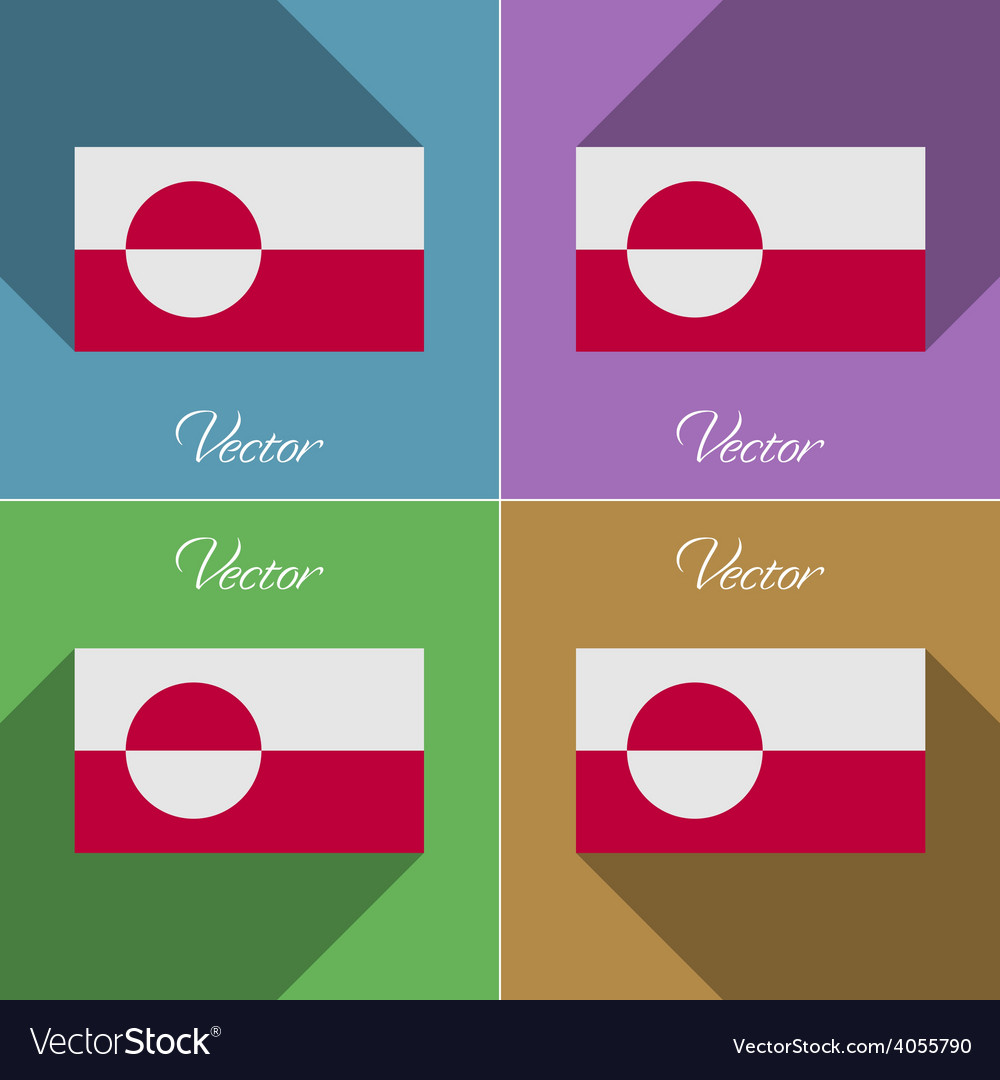 Flags greenland set of colors flat design and long vector | Price: 1 Credit (USD $1)