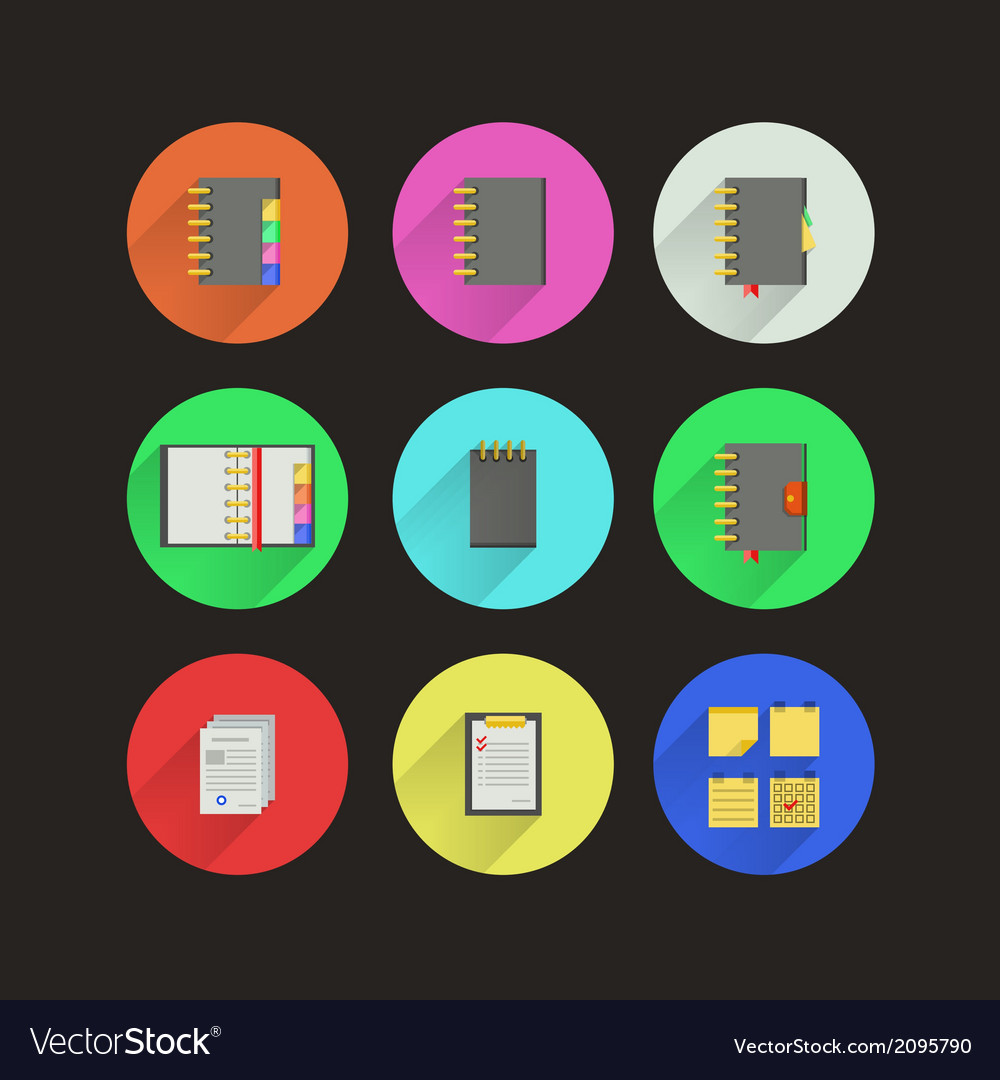 Flat icons for notebooks vector | Price: 1 Credit (USD $1)