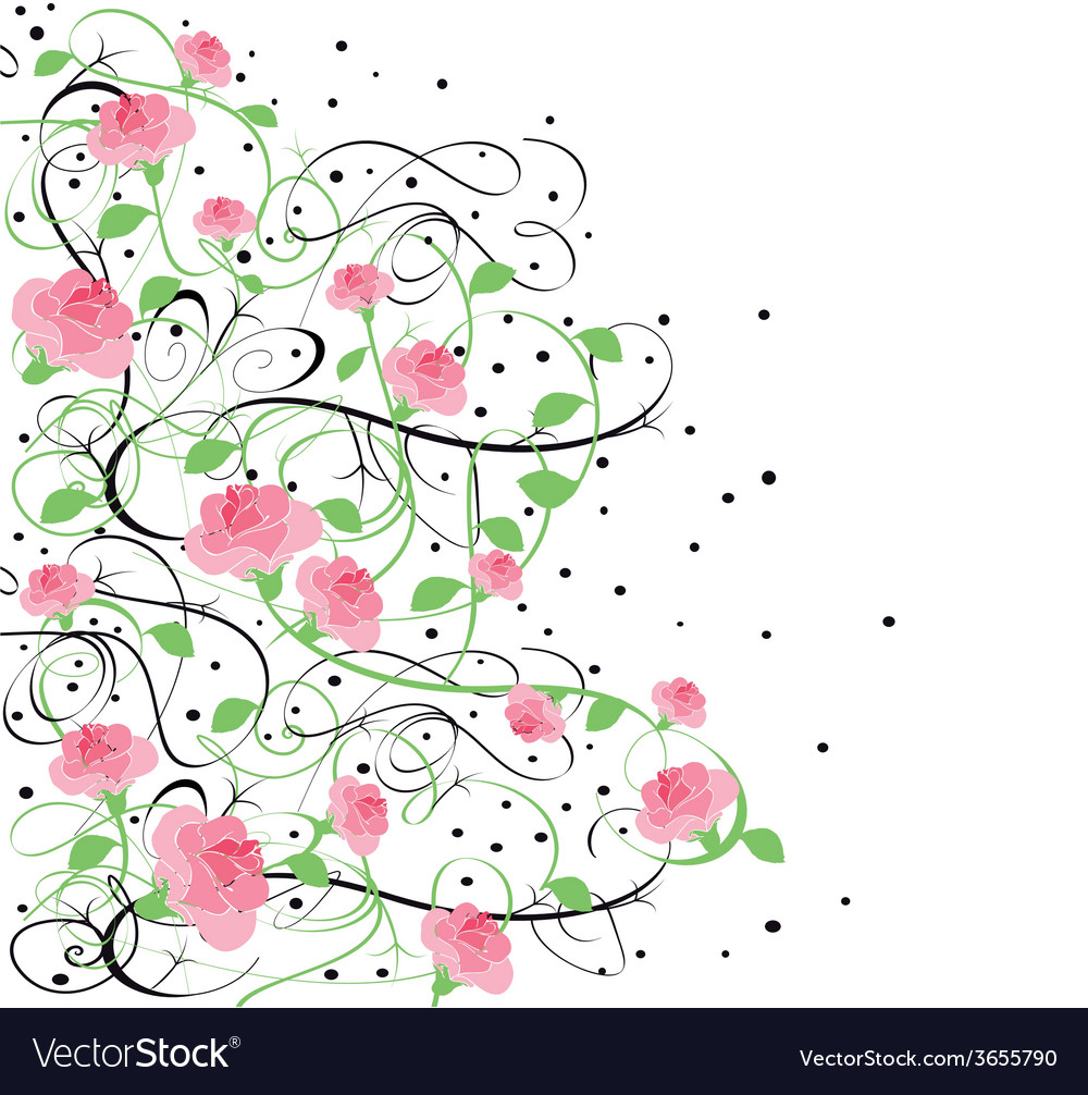 Flourishes-in-black-with-roses-7 vector | Price: 1 Credit (USD $1)