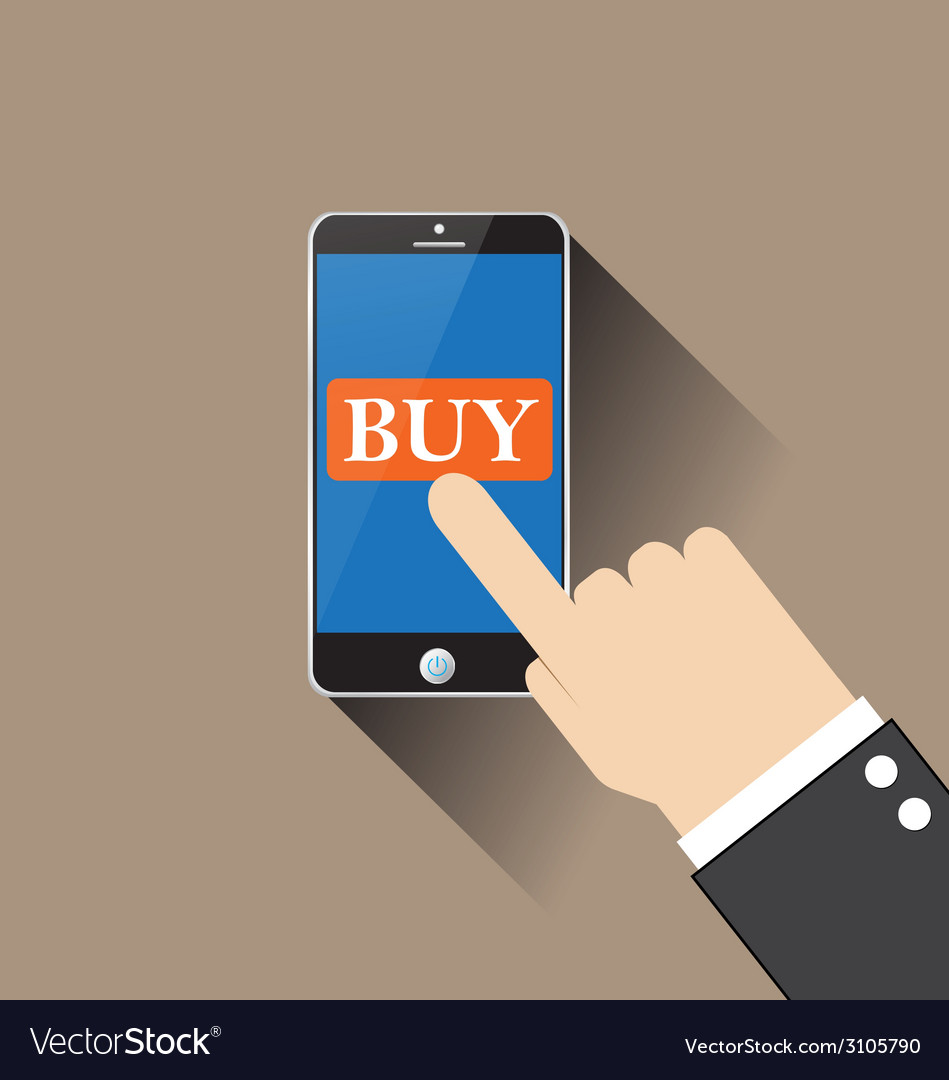 Hand buy on smartphone vector | Price: 1 Credit (USD $1)